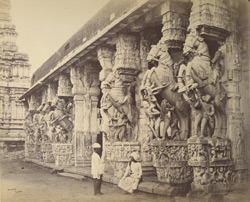 Mundapum, with facade of carved stone horses [at Srirangam].